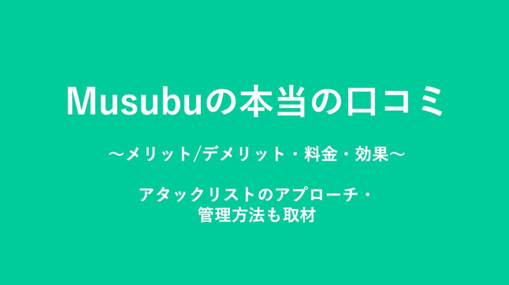 Musubuの本当の口コミ〜料金、メリット、効果〜